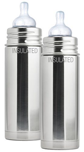 For Sale! Pura Kiki Stainless Steel Vacuum Insulated Infant Bottle, Natural, 9 Ounce, Set of 2