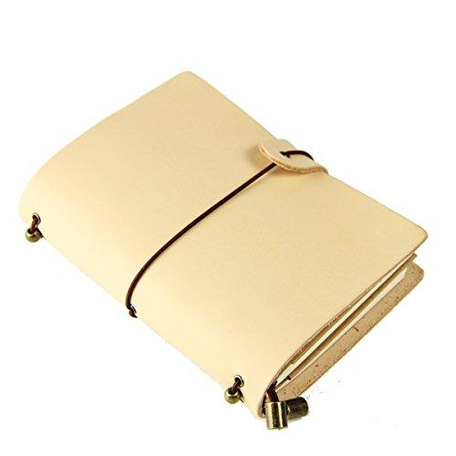 ScrodCat Clásico en cuero genuino 13.5cm x 11 cm Páginas reutilizables Diario de cuero 100% hecho a mano y personalizado - Diario vintage - Uso diario y cuaderno de viaje (Rosa C, S)