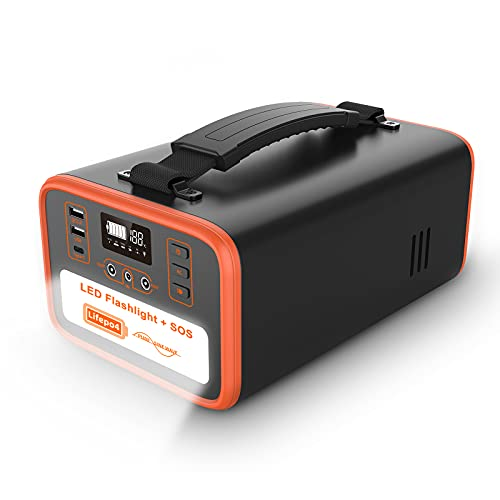 NECESPOW Portable Power Station,322Wh/100800mAh Lifepo4 Battery Backup Supply Solar Generator,320W(Peak 600W)Pure Sine Wave 2 AC Outlet,PD 60W/LED Flashlight for Camping CPAP Outdoor RV Emergency