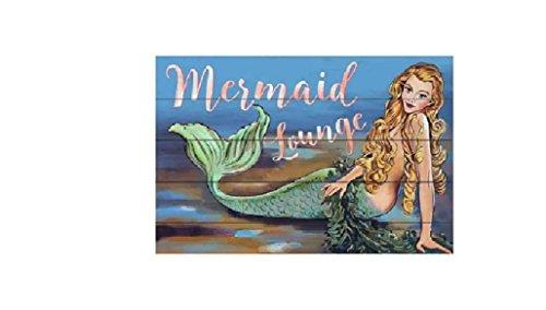 "Clarity & Muse Mermaid Sign Wall Decor Reads ""Mermaid Lounge"" - 24 1/4"" Wide - Beach Decor"