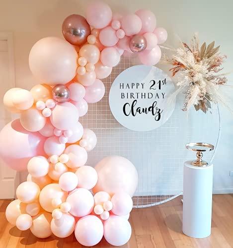 AcnA Guirnalda de Globos,Guirnalda Globos Decoración de Cumpleaños,95 Piezas Globo Guirnalda Fiesta Rosa con 4D Metálicos Arco para Globos para Baby Showers,Bodas,Decoraciones Cumpleaños
