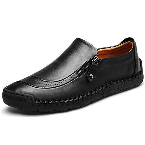 Herren-Leder-Loafer, bequem, leicht, runder Zehenbereich, flache Schuhe, Mokassins, rutschfest, breit, Business-Arbeitsschuhe, große Größe, Schwarz - Schwarz  - Größe: 41 1/3 EU