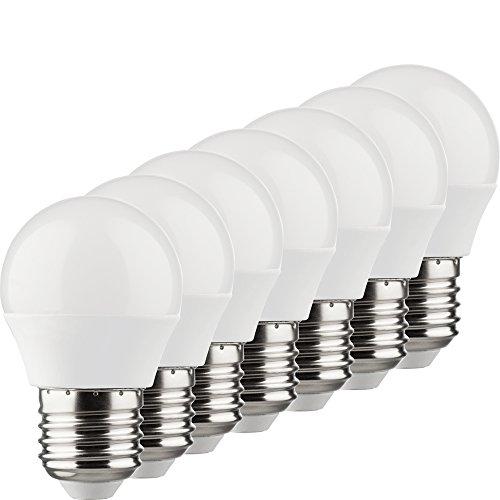 Müller-Licht 400026 A+, 7er-Set LED Lampe Miniglobe Ersetzt 25 W, Plastik, 3 watts, E27, Weiß, 4.5 x 4.5 x 7.5 cm