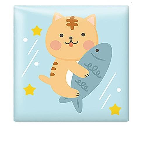 LBQT - Adhesivo decorativo para pared, diseño de dibujos animados en 3D, para cama de bebé, anticolisión, esponja, antiestrías, bolsa suave, impermeable, decoración de pared de conejo y gato de 14 cm