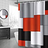 YellyHommy Mid Century Modern Shower Curtain Red Bathroom Accessories Black and Gray Shower Curtain Set with 12 Hooks 72x72 Inches