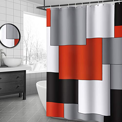 YellyHommy Mid Century Modern Shower Curtain Red Bathroom Accessories Black and Gray Shower Curtain Set with 12 Hooks 72x72 Inches (Red)