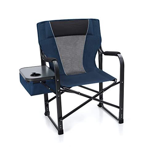 ALPHA CAMP Silla de director plegable, silla de camping, silla de pesca acolchada, con mesa lateral, soporte para...