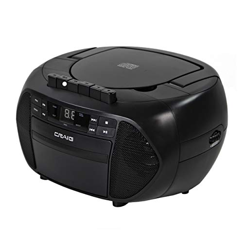 Craig CD6951 Portable Top-Loading CD Boombox with AM/FM Stereo Radio and Cassette Player/Recorder in Black | 6 Key Cassette Player/Recorder | LED Display |