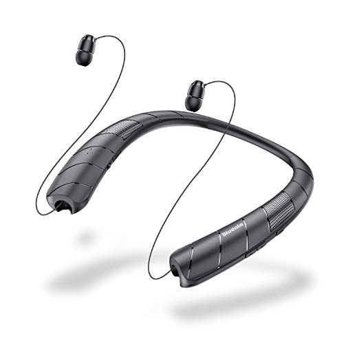 Bluetooth Headphones Speaker 2 in 1,Bluenin Bluetooth Wireless Headphones Neckband with Mic Sweatproof Wearable Speaker Retractable Earbuds with Carrying Case (Black)