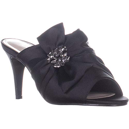 Caparros Womens Orchard Fabric Open Toe Special Occasion, Black Satin, Size 7.5
