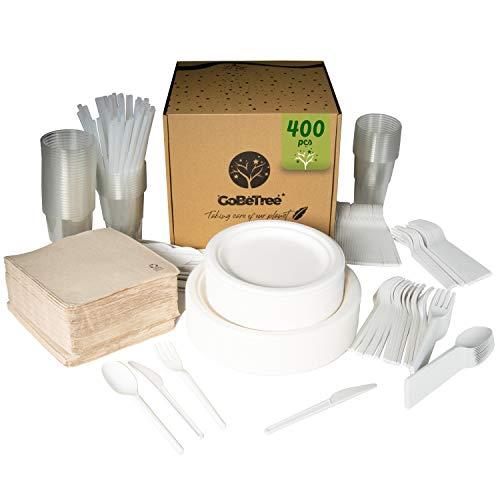 Set di 400 pezzi per 50 persone. Stoviglie di canna da zucchero biodegradabili Comprende 100 piatti, 150 posate riutilizzabili, 50 bicchieri e cannucce riutilizzabili e 50 tovaglioli.
