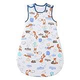 Mosebears Schlafsack Baby Winterschlafsack 2.5 Tog Babyschlafsack 100% Baumwolle atmungsaktiv Babyschlafsack (Blue Fox, 0-6 Monate)