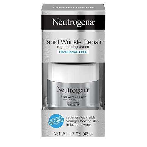 Neutrogena Rapid Wrinkle Repair fragancia libre Anti-Wrinkle Retinol crema hidratante con ácido hialurónico para cara y cuello, 1.7 oz