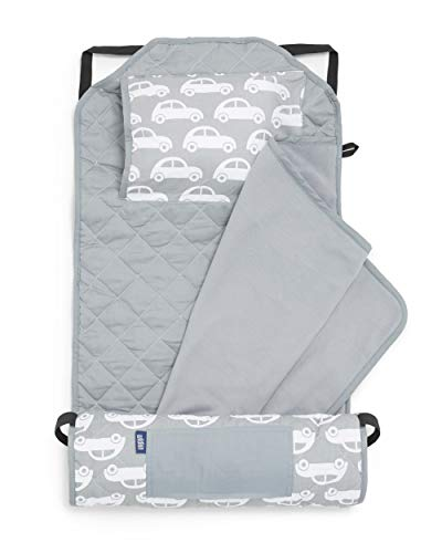 Wildkin Kids Modern Nap Mat with Pillow for Toddler Boys & Girls, Ideal for Daycare & Preschool, Features Elastic Corner Straps, Cotton Blend Materials Nap Mat for Kids, BPA-free (Cars)