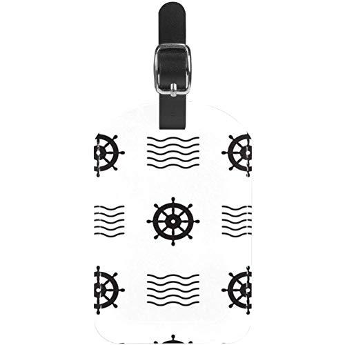 Etiquetas para equipaje de cuero con timón náutico para maleta de viaje, 1 paquete
