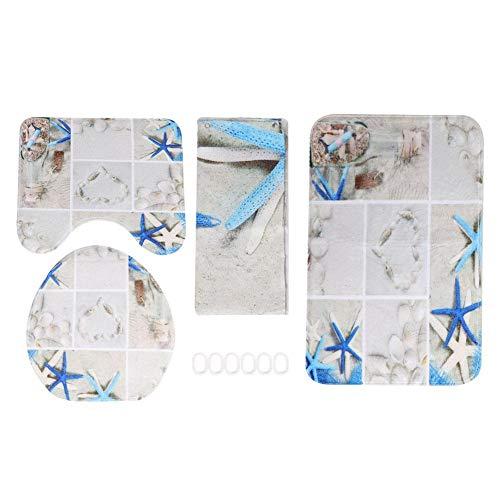 4 pezzi / set Starfish Shower Curtain Piedistallo Coperchio Coperchio WC Tappetino antiscivolo Tappeto da bagno Set per casa Arredo bagno (Tenda da doccia + Tappeto piedistallo + Coperchio copri-WC