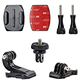 Woleyi Action Camera Accessories, Adhesived Curved & Flat Mounts with Buckle, 1/4 Screw Thread with Thumb Screw, Compatible with Gopro Mounts and All Cameras