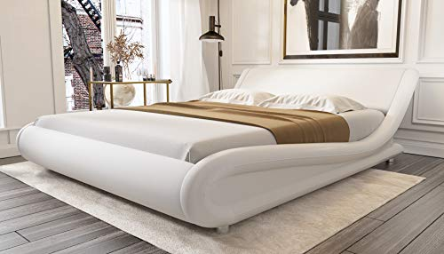 Amolife Upholstered Platform Bed King/Deluxe Solid Modern Bed Frame/Mattress Foundation/Faux Leather King Size Bed Frame with Adjustable Headboard and Wood Slat Support, White