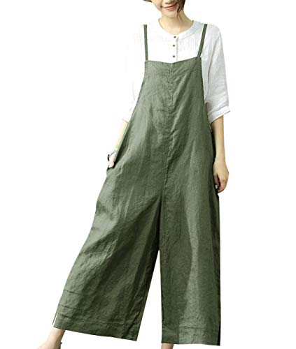 YESNO Women Casual Loose Boyfriend Bib Pants Summer Wide Leg Cotton Jumpsuits Rompers/w Pockets XS-5X PZZTYP2 (M, A-Dark Army Green-Split Wide Leg)