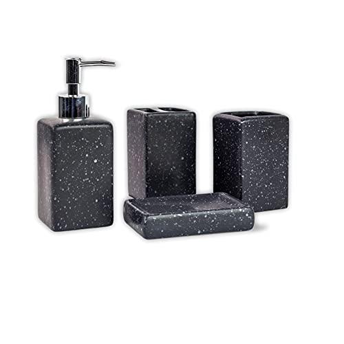Colors Are Free Conjunto baño Accesorios de Ceramica - Juego de baño Accesorios Completo Vaso para Cepillo de Dientes y dispensador de jabon y jabonera - Set de baño Accesorios - TERRAZO