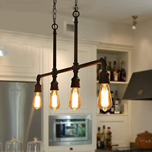 Log Barn Pendant Lighting For Kitchen Island 4 Light Farmhouse Industrial Lighting In Black Metal 44 Linear Dining Room Lighting Fixtures Hanging Buy Online In China At China Desertcart Com Productid 88203047