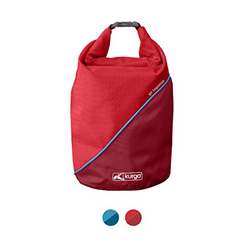 Kurgo Dog Food Travel Bag   Pet Food Travel Storage Container   Dog Travel Accessories for Camping   Easy to Clean   BPA Free   Foldable   Holds 5 Pounds   Kibble Carrier   Coastal Blue & Chili Red