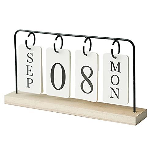 Luces LED Calendario de Escritorio Metal perpetuo Flip Wood Sky Skin Calendar Calendario para el hogar y la Oficina 11.4x1.9x6.4 (Color : Desk Calendar)