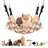 Soudittur Cat Hammock, Hanging Adjustable Canvas Small Pet Hammock for Small Dog, Cat, Rats, Ferret, Bunny, Suitable for Cage/Chair/Car/Outdoor