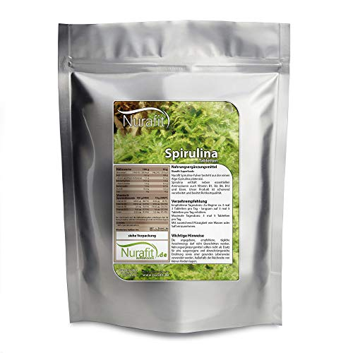 Nurafit Spirulina Presslinge I 4000 Kapseln I reine Spirulina Superfood Algen Tabs Tabletten I Mit B-Vitaminen I 1000g / 1kg