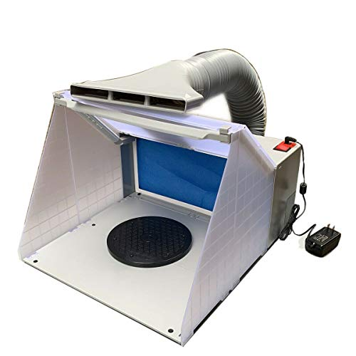 EWANYO Hobby Airbrush Paint Spray Booth Kit with LED Lighting Filter Extractor Portable Paint Spray Exhaust Booths for Painting All Art, Cake, Craft, Hobby, Nails, T-Shirts & More.