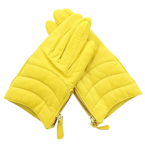 Coach 82822 Women's Short Zip Quilted Leather Gloves Lemon Yellow 7