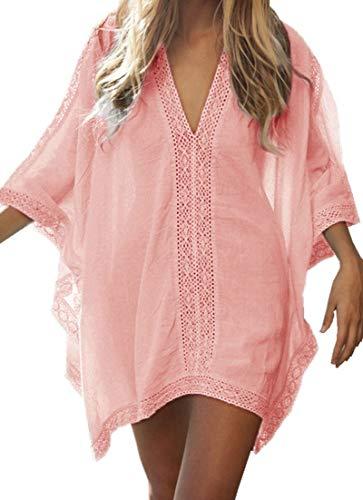 Walant Robe de Plage pour Femmes V-Cou Bikini Cache-Maillots Taille Unique Coton mélangé Dentelle Chemise Robe Couvrir Beach Maillots de Bain Cover Up, A-rose Clair, Taille unique