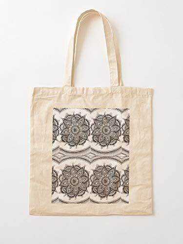 Saltandlaceintimates Mandal W Art B Black And White Mandala Design Tote Cotton Very Bag | Bolsas de supermercado de lona Bolsas de mano con asas Bolsas de algodón duraderas