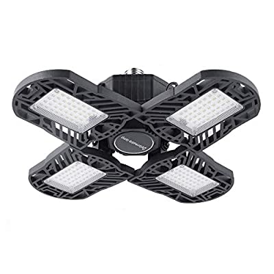 LED Garage Lights, 100W Garage Lighting, E26/E27 10000LM High Bay Deformable LED Garage Ceiling Lights with 4 Adjustable Panels, 6000K Daylight LED Shop Lights for Garage Basement Workshop