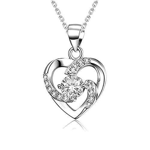 Collana in argento con ciondolo a forma di cuore in cristallo