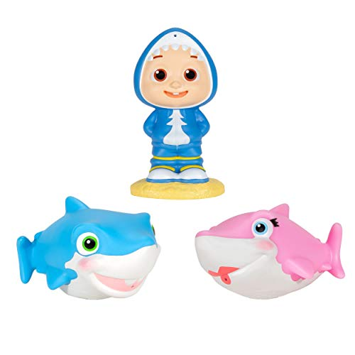 "Cocomelon Official Bath Squirters, Featuring JJ Character Toy (4"" Tall) and 2 Sharks (4"" Wide), Bath Time Fun Playset - Character Toys for Babies, Toddlers, and Kids"