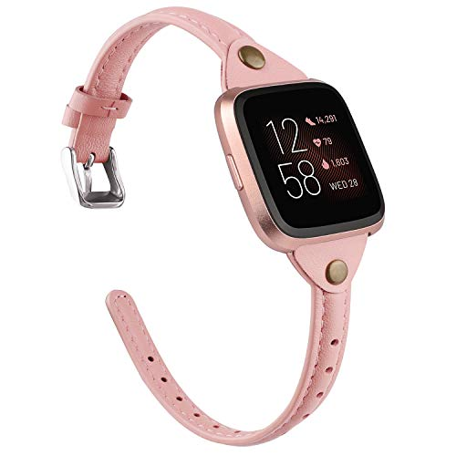 TOYOUTHS Slim Strap Compatible with Fitbit Versa/Versa 2/Versa Lite/Versa SE Bands for Women Men Thin Genuine Leather Replacement Wristbands Handmade Watch Band Accessories Rose Pink