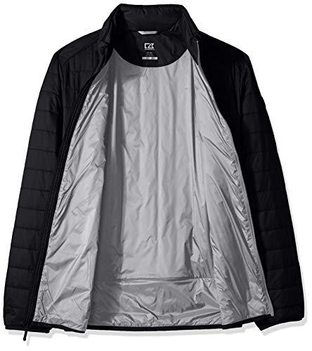 Cutter & Buck Men's Weather Resistant Primaloft Down Alternative Rainier Jacket, Black, Large Tall