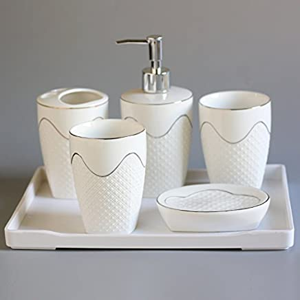 Accessori Da Bagno Colorati.Amazon It Set Accessori Bagno Ceramica Gyps Casa E Cucina