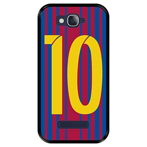 Hapdey Funda Negra para [ Alcatel One Touch Pop C7 ] diseño [ Ilustración fútbol, número 10 ] Carcasa Silicona Flexible TPU