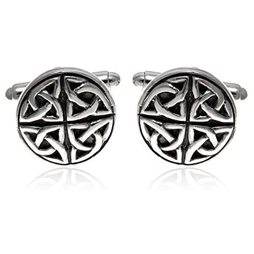 Sterling Silver Oxidised Celtic Circle Cufflinks with Presentation Gift Box. Great gift for a man on a birthday or Christmas