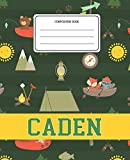 Composition Book Caden: Camping Pattern Composition Book Name Caden Personalized Lined Wide Rule Notebook for...