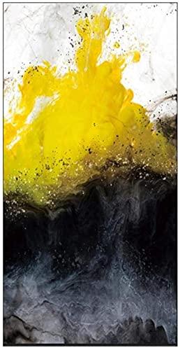 SXXRZA Impresiones para Paredes 50x100cm Sin Marco Moderno Abstracto Dorado Amarillo y Negro Lienzo Colorido Pinturas artísticas para Sala de Estar Dormitorio Carteles e Impresiones Hogar