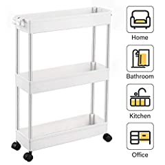 【Flexible 3 Tier Storage Cart】- The 3-tier slim storage cart is 5.1 in design which can be used in tight spaces in your home for storage. Suitable for closets, kitchens, bathrooms, garages, laundry rooms, offices or in-between your washer and dryer. ...