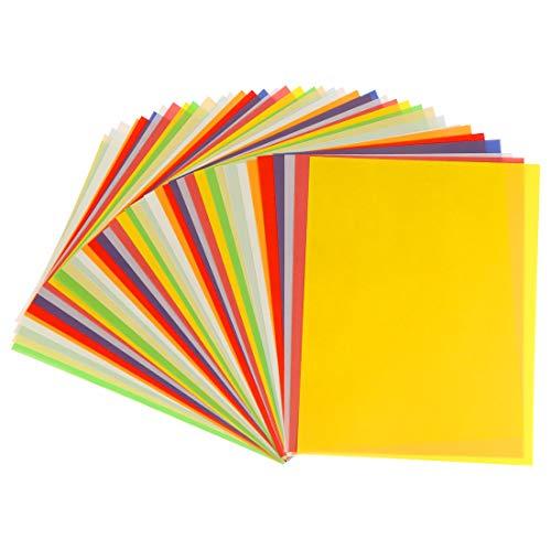 Papel Transparente Colores Origami, Papel para Coloreado Papiroflexia, 40 Hojas Colore Origami Papel Cartulina, Cartulinas de Colores a4 surtidos Para Proyectos de Artes y Oficios