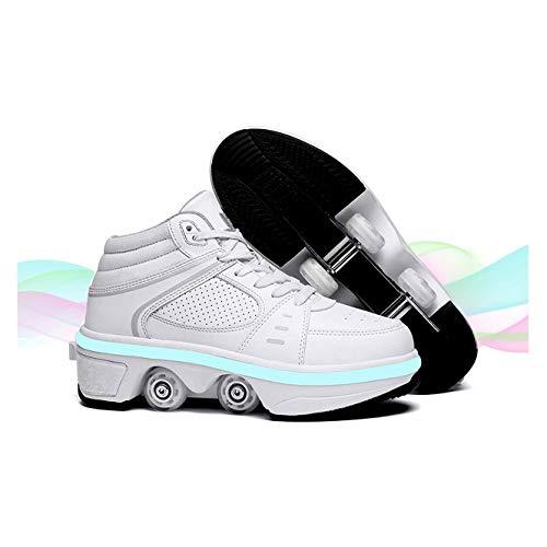 Los Patines Son Adecuados para Niñas/Niños 2 En 1 Zapatos Multifunción, De Rodillos Deformables, Retráctiles Recargables LED, Doble Fila Al Aire Libre,White-38