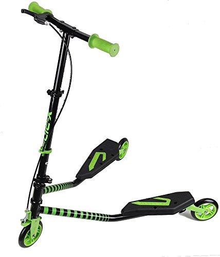 Kawin - Patinete doble Slider Fliker, de 3 ruedas, plegable, skateboard con freno , VERDE