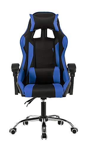 LYJBD Silla de juegos, ergonómica para computadora con altura ajustable, respaldo alto, ajustable, giratoria, silla giratoria de piel sintética