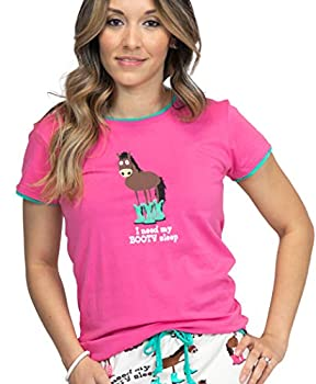 Lazy One Fitted Pajamas for Women Cute Pajama Pants and Top Separates Horse Boots Western Animal  Booty Sleep Small