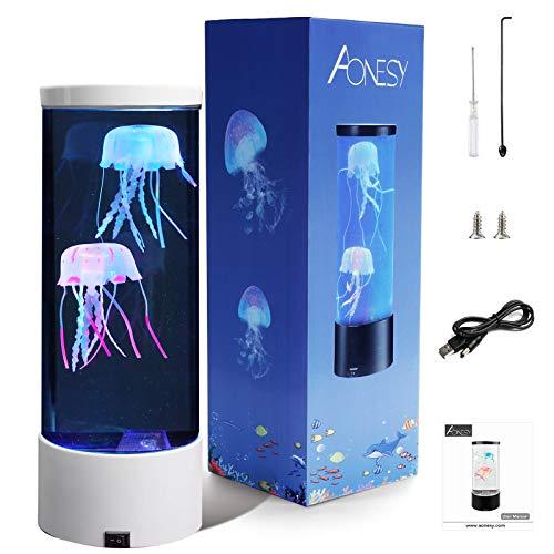 Lámpara de medusas Lámparas de lava AONESY Lámpara de cambio de color Lámpara de humor de acuario de medusas Lámparas de lava para dormitorio de niños Regalo de cumpleaños de Navidad